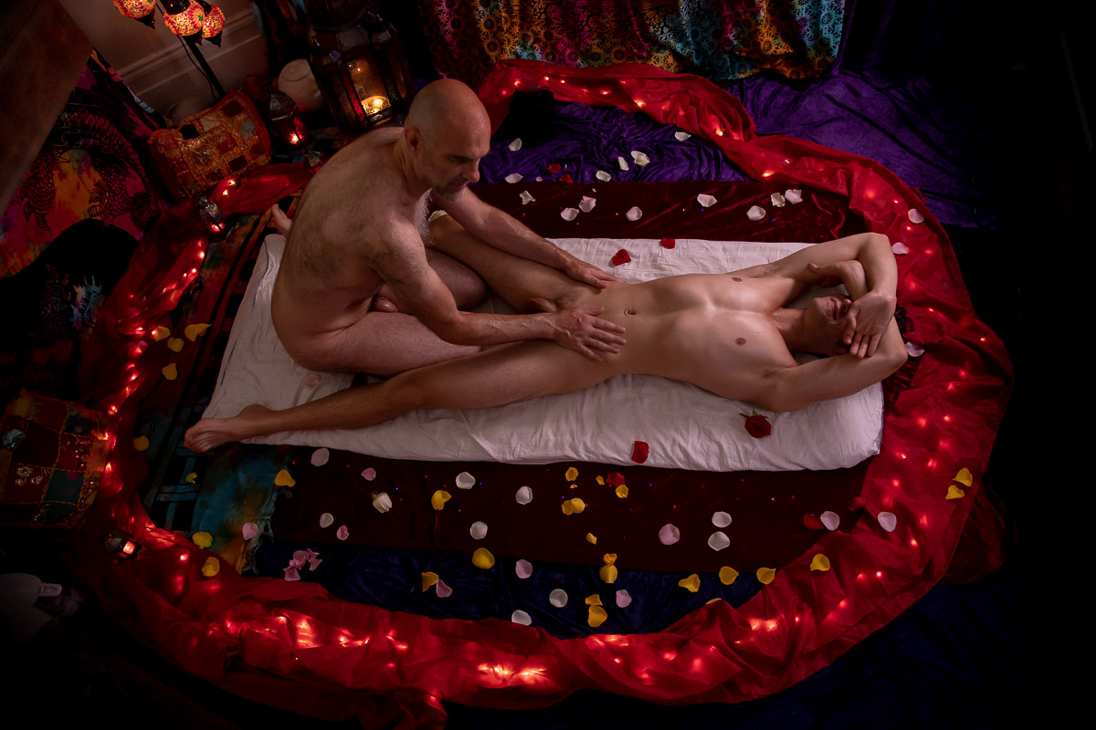 Sensual Circle Massage, showing the LED light circle and rose petals.